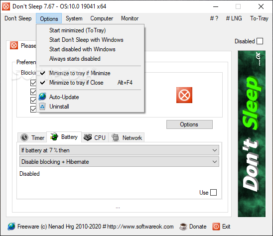 Don't Sleep screenshot 3 - You can use the software's Options menu to easily modify the program startup.