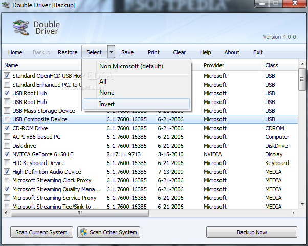 Double Driver screenshot 1 - The main window allows you to explore all the drivers installed on your computer.