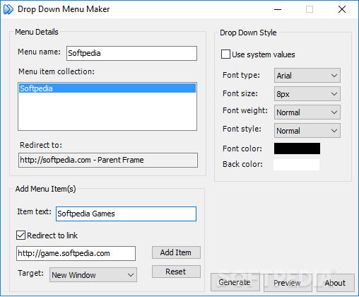 Download Drop Down Menu Maker 1.1 Build 20051.25 Windows
