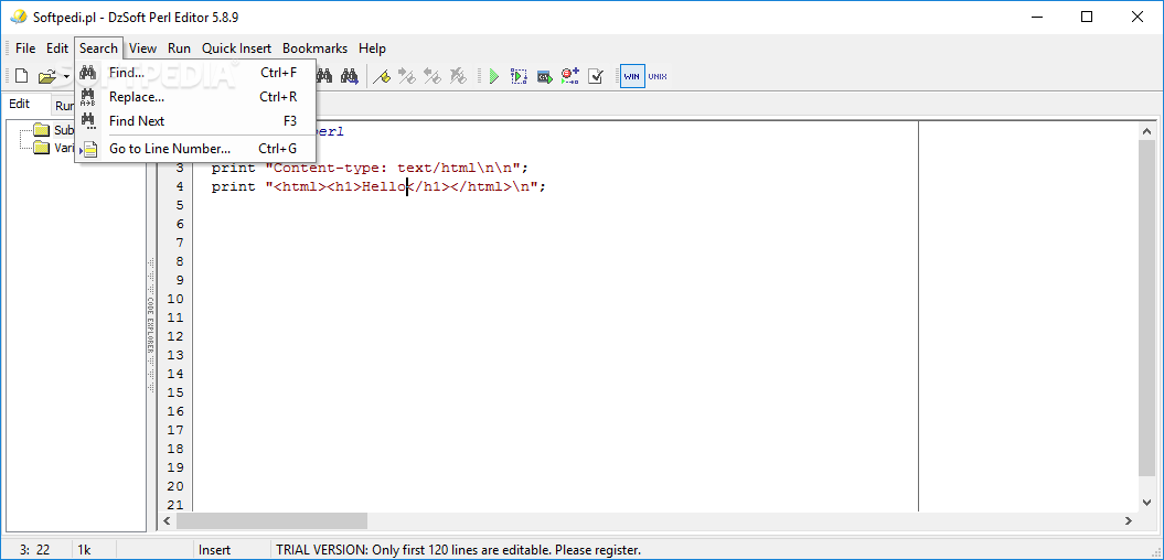 Download DzSoft Perl Editor 5898