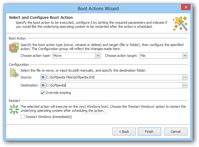 EMCO MoveOnBoot screenshot 2 - When creating a new boot action, you need to specify its type, select the source file and the destination location