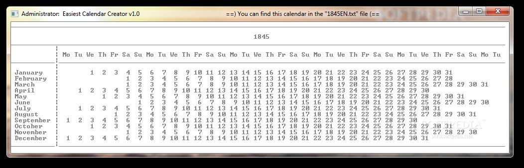 download easiest calendar creator portable 1 1