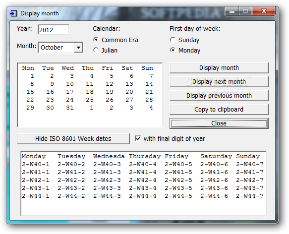 Easy Date Converter - The Display month window will provide users with ...