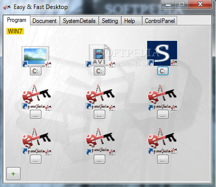 Easy & Fast Desktop screenshot 1 - This is the main window of Easy & Fast Desktop, where you can set different shortcuts.