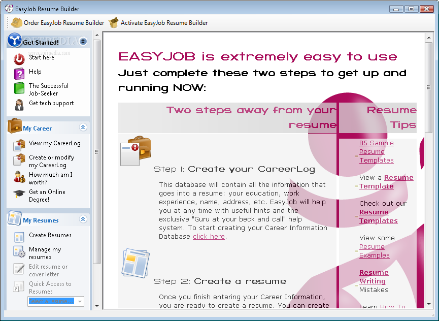 Download Easyjob Resume Builder 496 Build 3051