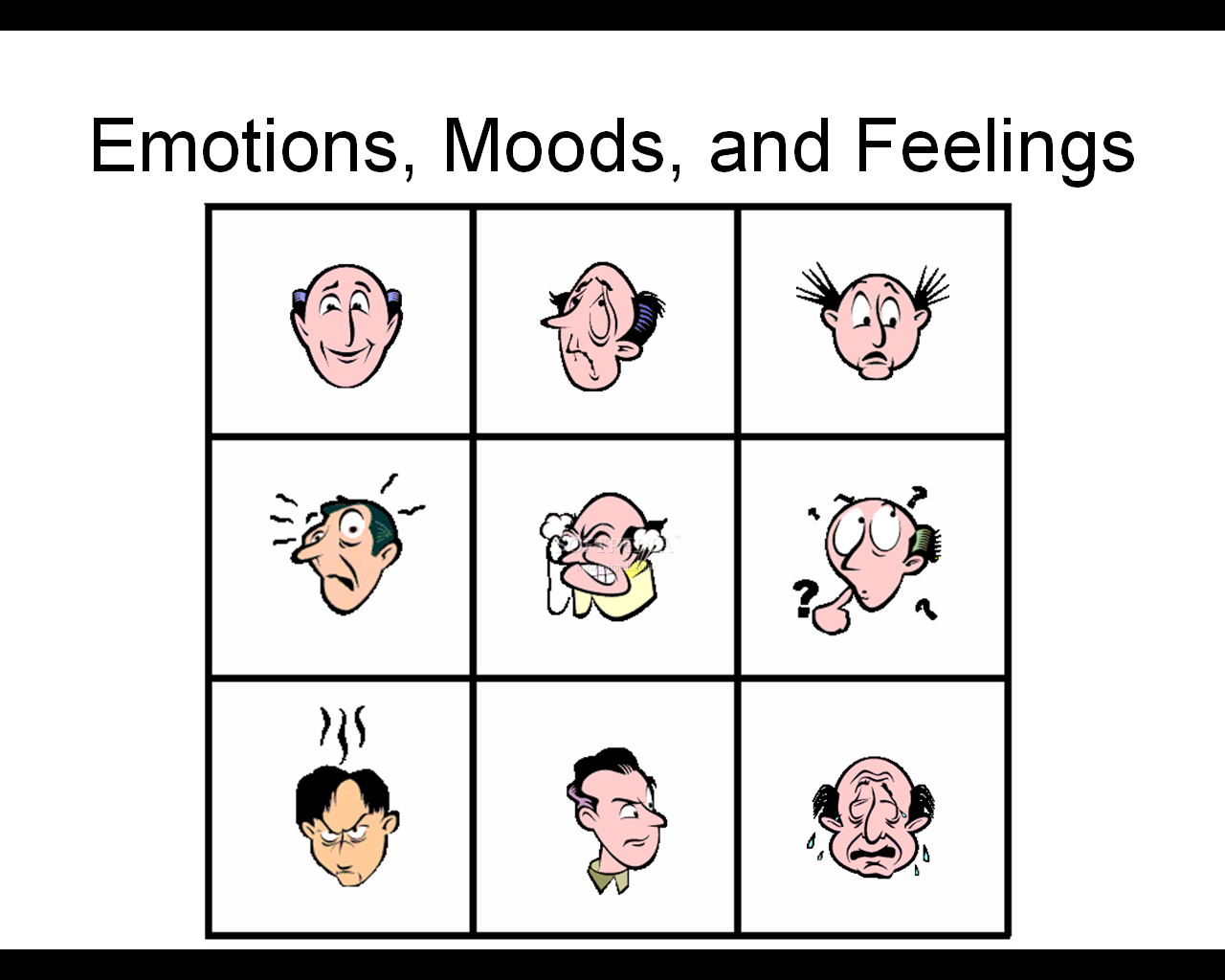 Emotions moods and feelings the main window presents the basic