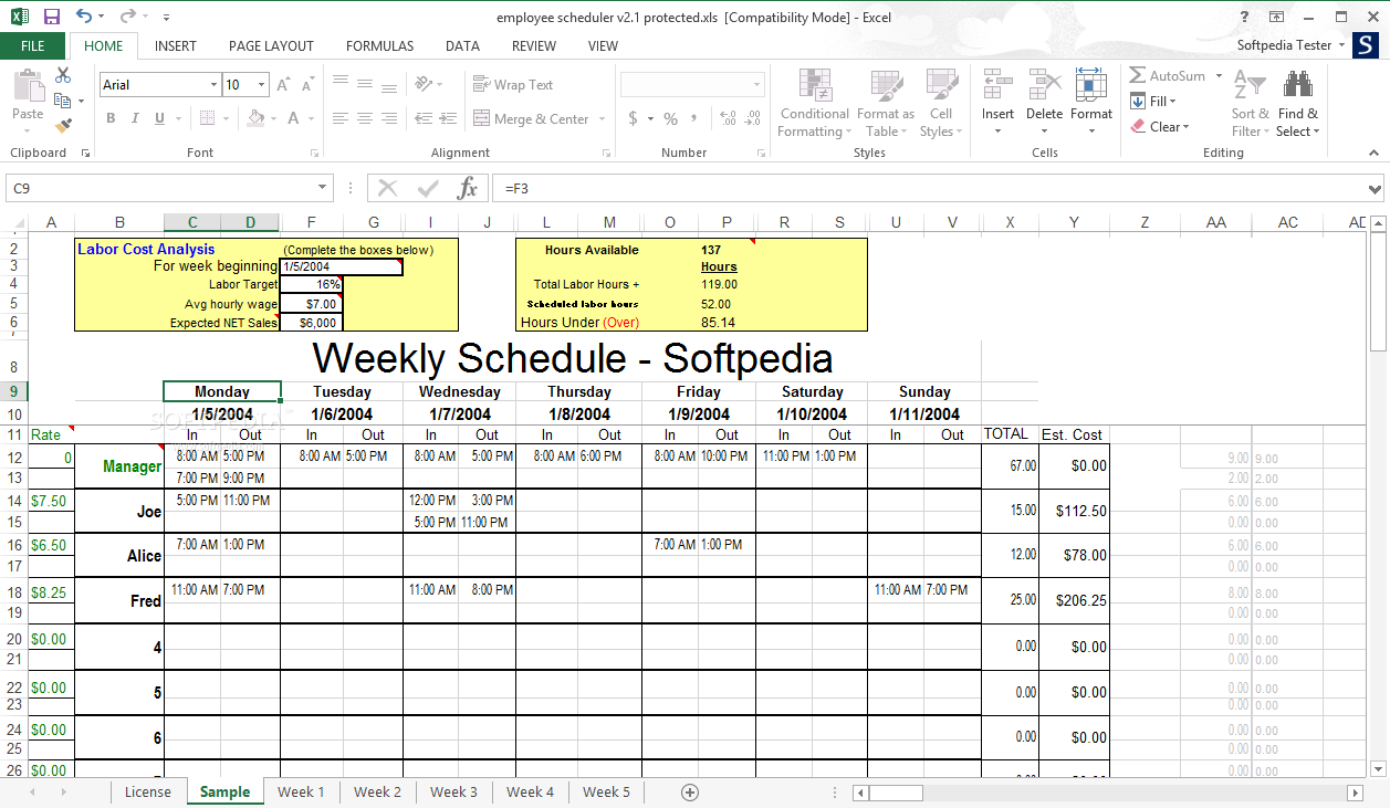 download employee scheduler for excel and openoffice 2 1