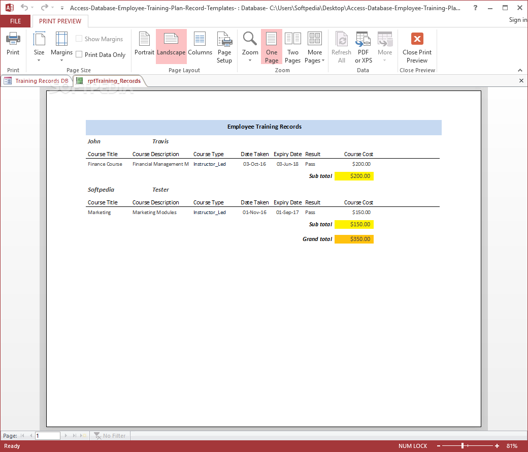 Download Employee Training Plan And Record Access Database Templates 1 0