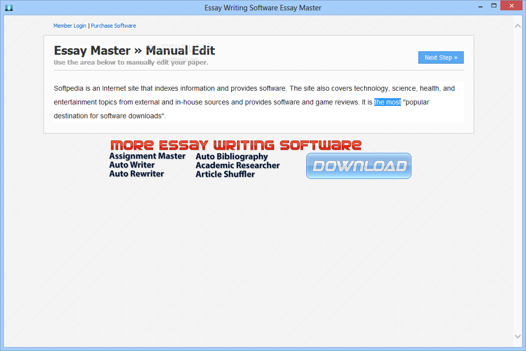 essay softtware shareware Free - article rewriter software - essay rewriter software - paraphraser software - auto rewriter software dr essay ultimate essay writer v10 dr essay's ultimate essay writer is a revolutionary academic tools that helps you write an essay article, it works by helping you research the essay topic, rewriting the information found online and adding.