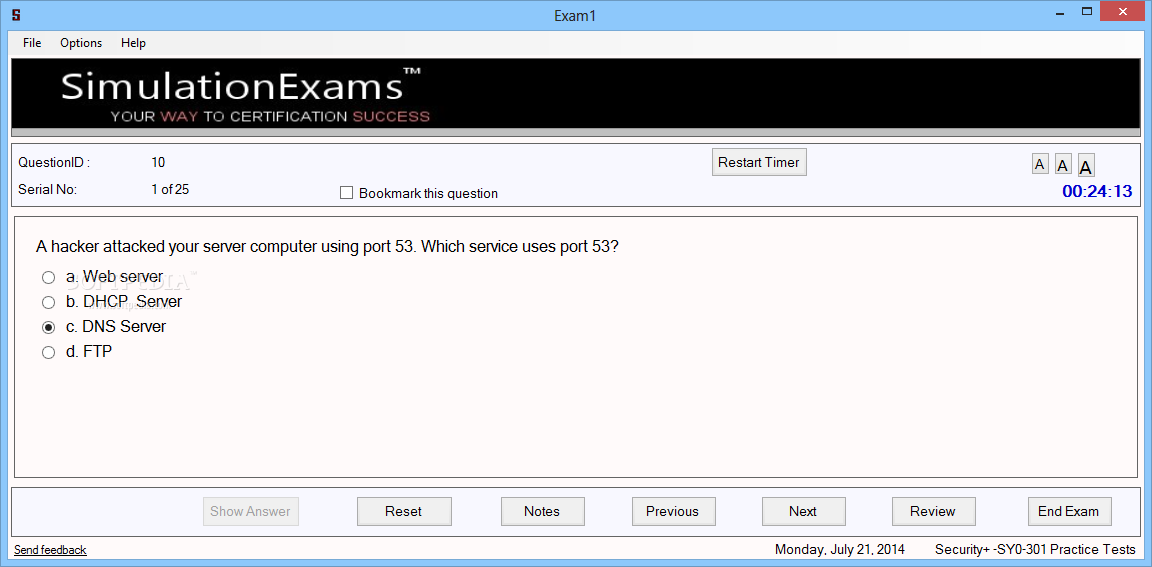 Download Simulation Exams for Security+ - SY0-301 5 0 0