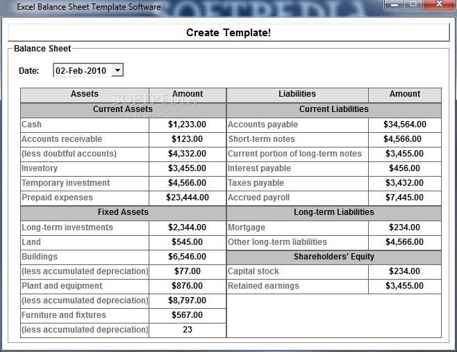 download excel balance sheet template software 70