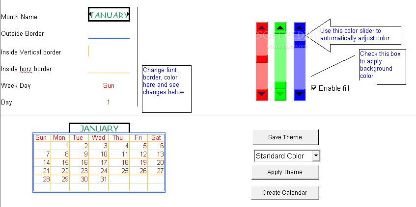 how to create a cool calendars in excel