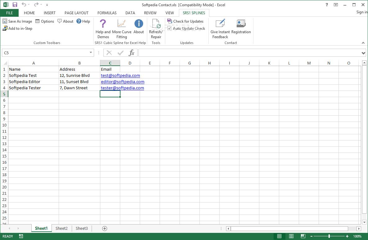 Download SRS1 Cubic Spline for Excel 2 5 1 2