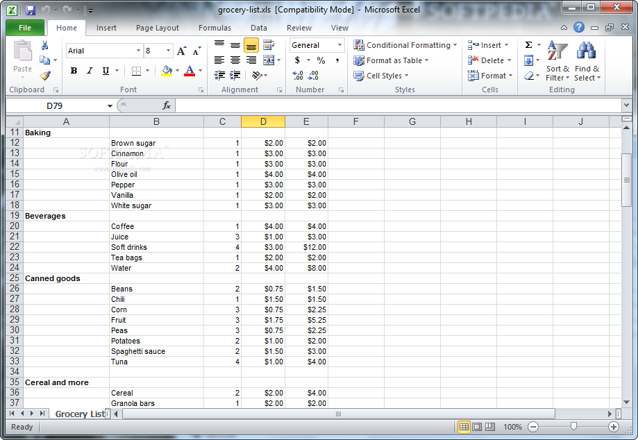 grocery list download