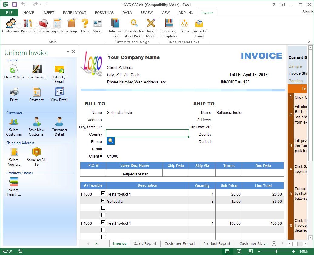 office sales invoice
