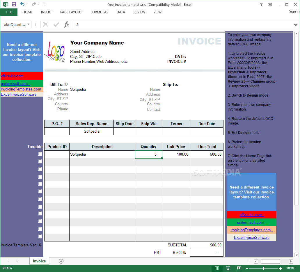 Download Excel Invoice Template 1 6
