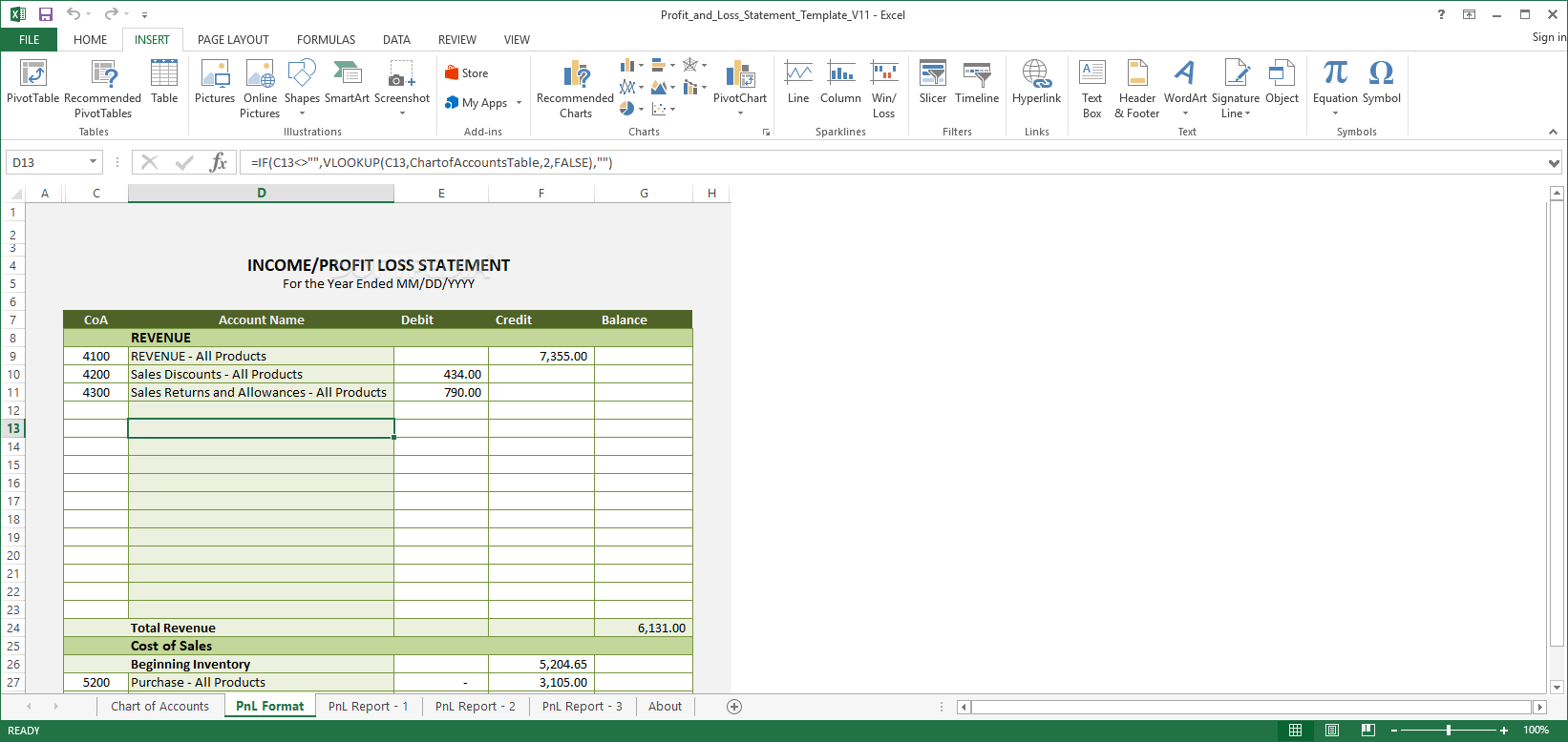 download excel profit and loss statement template 13