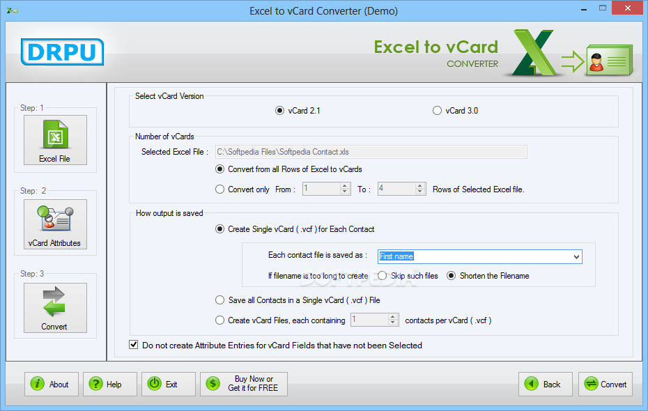 Download Excel to vCard Converter 3 0 1 5
