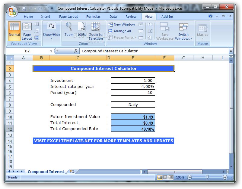 Monthly compound interest excel template compound interest in.