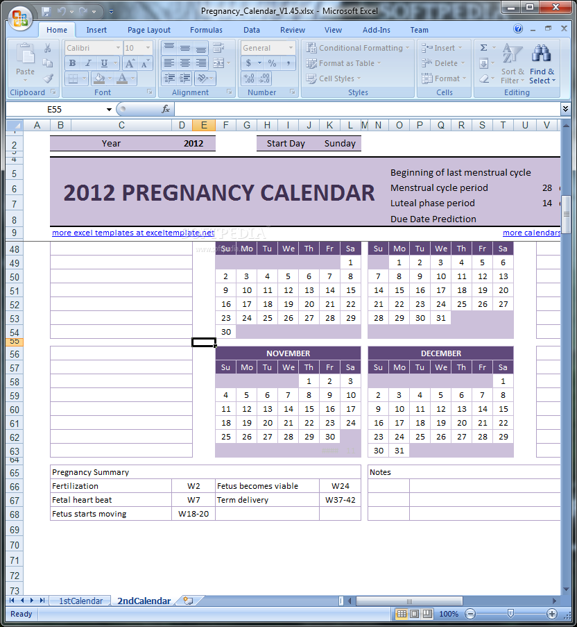 pregnancy calendar this excel template will allow you to keep a calendar of your pregnancy
