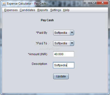 Expense Calculator screenshot 2 - The application enables you to quickly add new payments by selecting the candidates