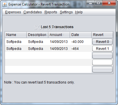 Expense Calculator screenshot 3 - You have the possibility to view and analyze the last five transactions within minutes