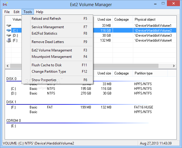 Ext2 volume manager