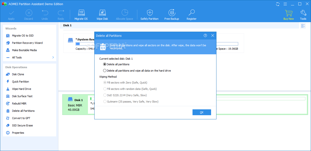 Download AOMEI Partition Assistant Professional Edition 8 4