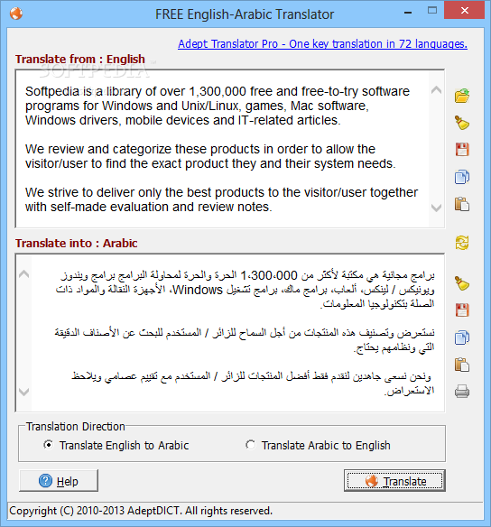 How do you get a free English to Arabic translation?
