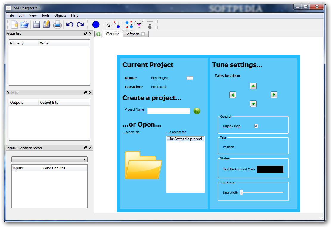 FSM Designer screenshot 1 - You can create a new project and tune your settings from the Welcome window.