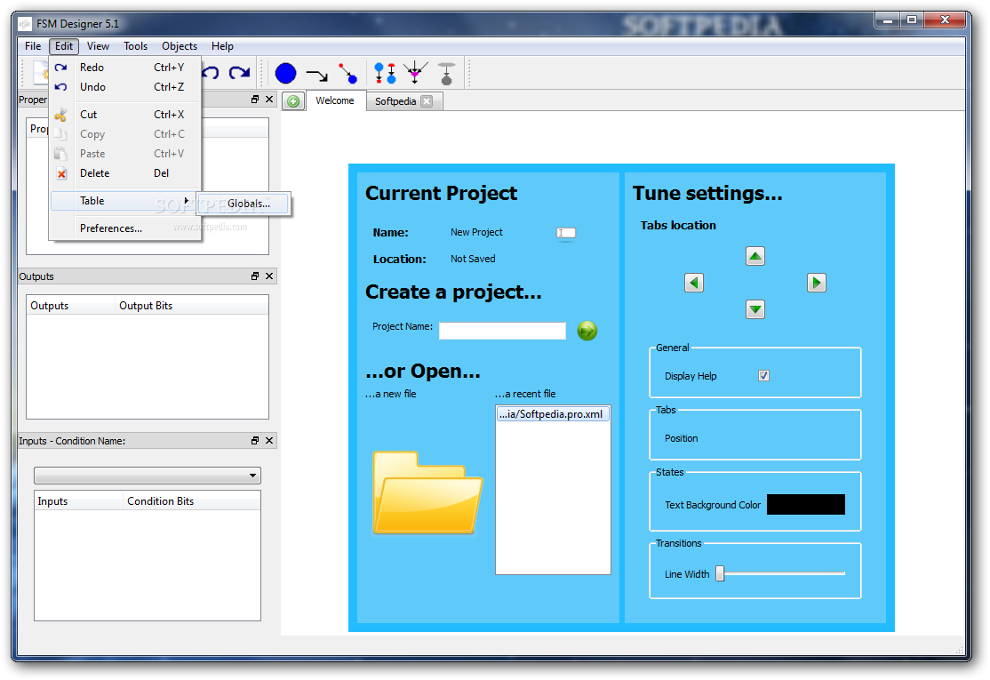 FSM Designer screenshot 2 - Access and use the Cut, Copy, Paste and Delete functions from the Edit menu.