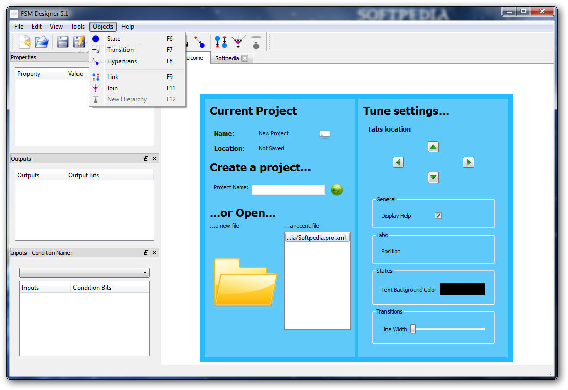 FSM Designer screenshot 4 - This is how you can add a new state, transition or hypertrans from the following menu.