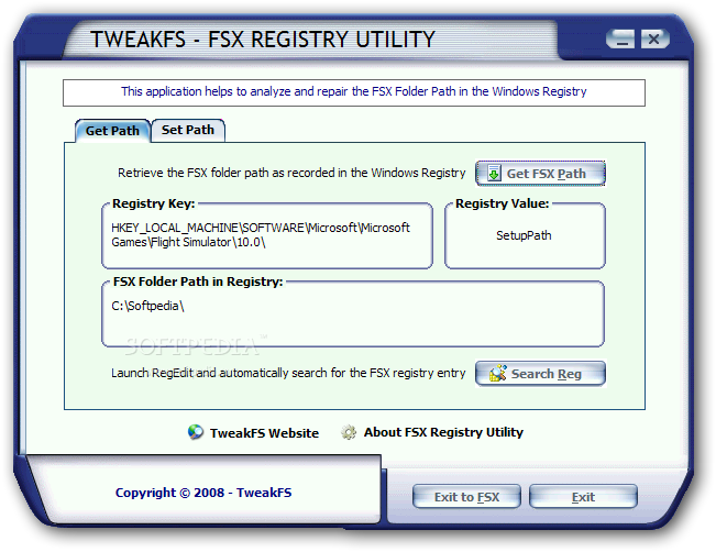 The application allows you to detect the existing registry keys for the Flight