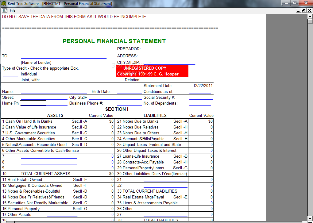 personal financial statement form 2014