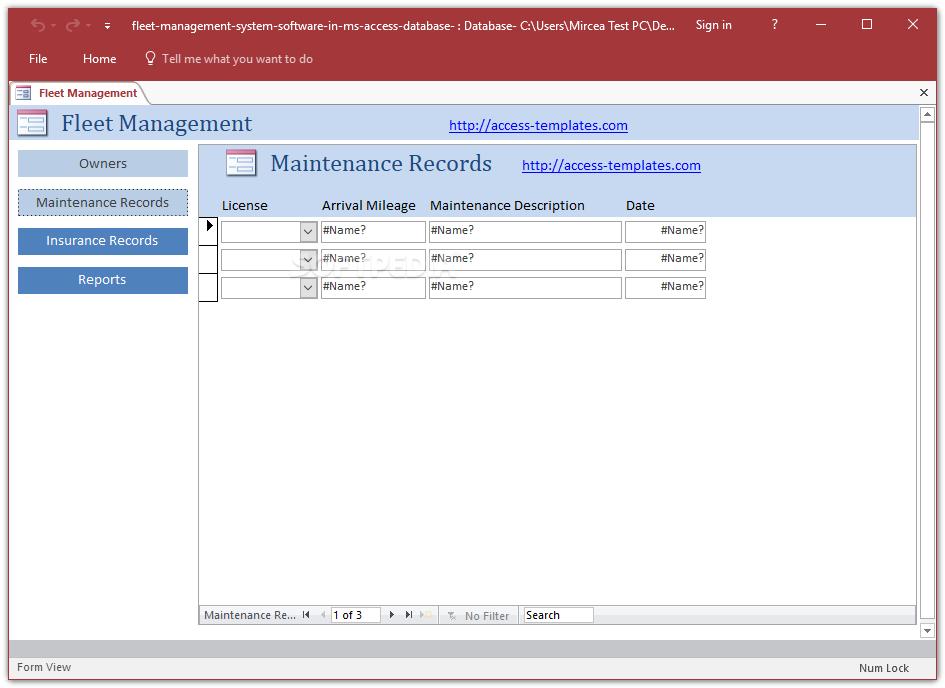 Download Fleet Management System Access Database Templates 1 0