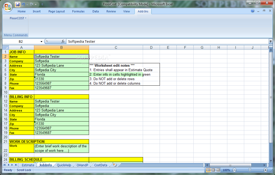 download floorcost estimator for excel 9 0