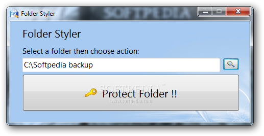 Folder Styler screenshot 1 - The main window of Folder Styler allows you to choose the directory you want to protect.