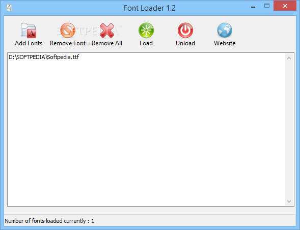 Font Loader screenshot 1 - The application allows you to temporarily load fonts into the Windows system, without having to install them.