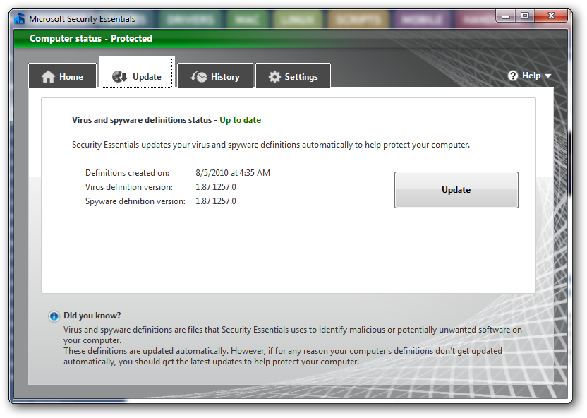 how to turn on microsoft security essentials in windows 7