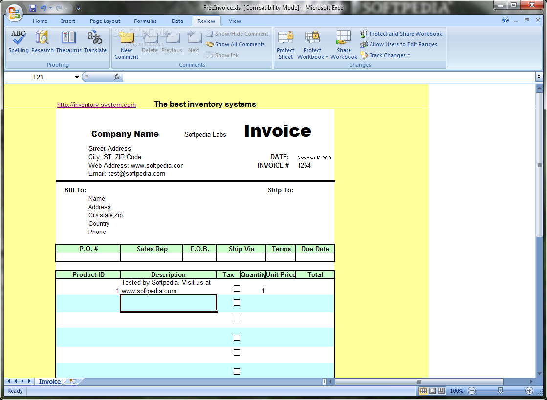Download Free Excel Invoice Template 12