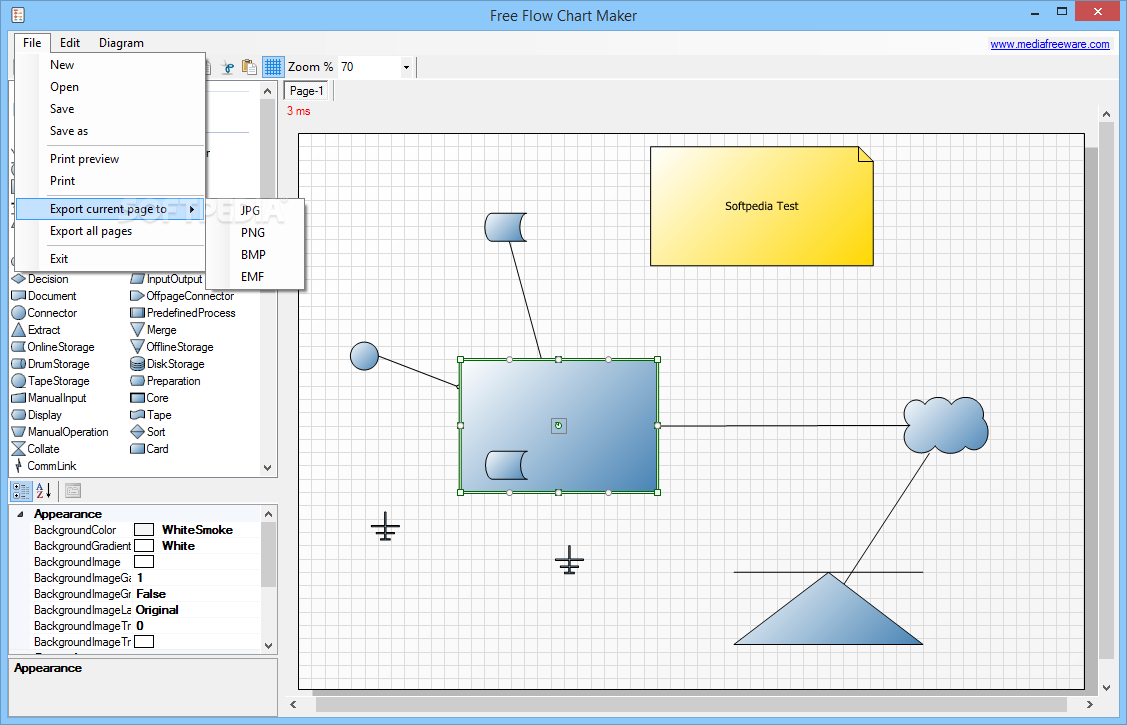 Free Flow Chart Maker The File Menu Enables You To Save Diagram Or Export