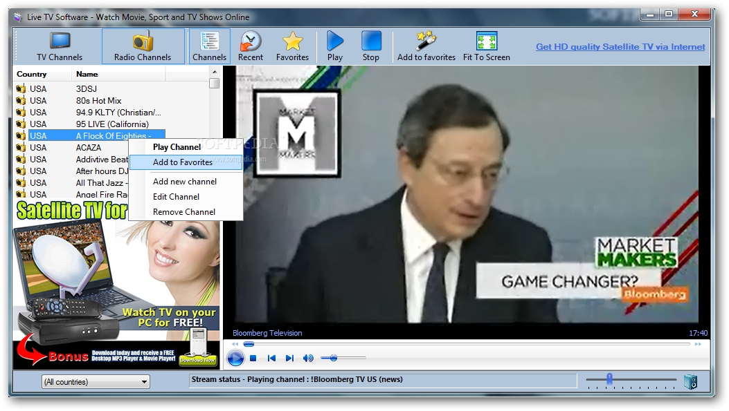 Free live tv download for pc