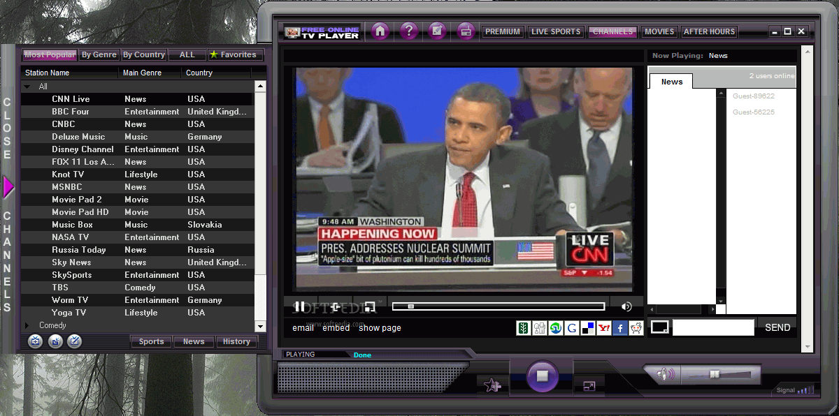 free online tv player 2.0.0.9