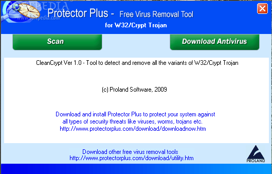Download Free Virus Removal Tool for W32/Crypt Trojan 1.0