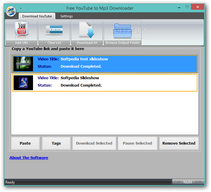 Youtube to Mp3 Downloader - The main window of Free Youtube to Mp3 ...