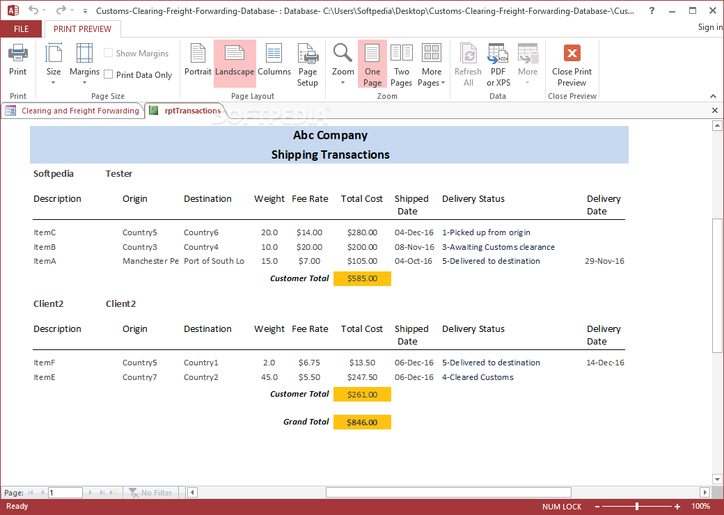 Download Freight Forwarding and Shipping Management Access Database