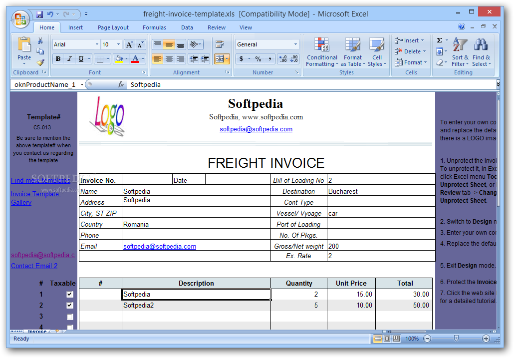 download freight invoice template