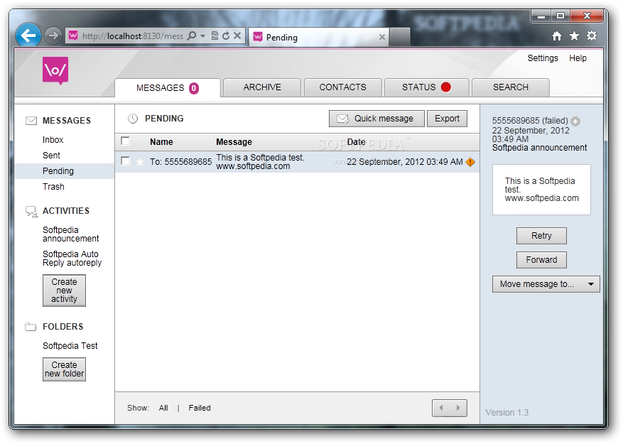 FrontlineSMS screenshot 1 - The application can be used in any Internet browser in order to send the messages.
