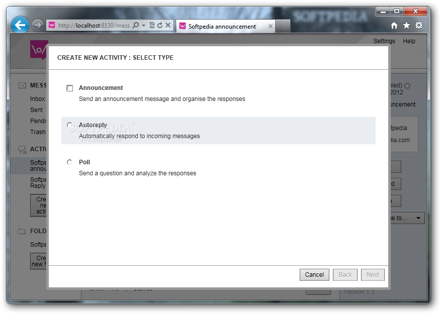 FrontlineSMS screenshot 3 - The application allows you to create activities and polls by communicating them by SMS messages.