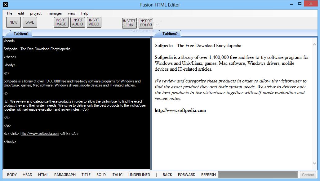Download Fusion HTML Editor 1 1 0 0
